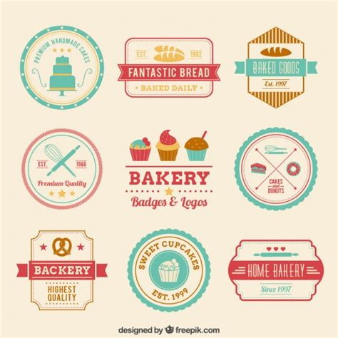 retro bakery badges vector free download