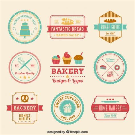 retro bakery badges vector free