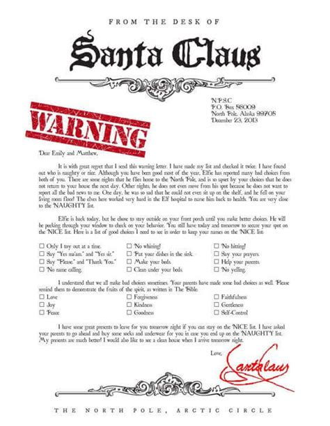 free printable elf on the shelf warning letter 15 printable letters from santa spaceships and laser beams