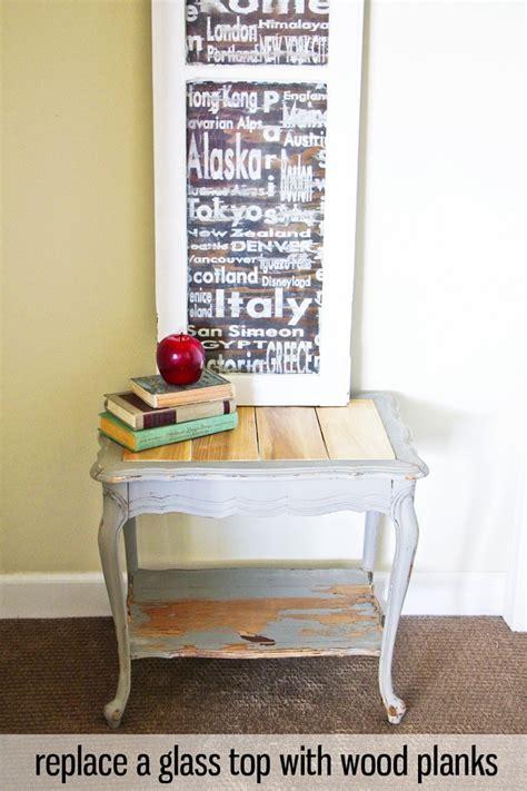 replace  glass table top  wood planks honeybear lane