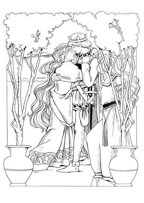 Coloriage princesse et son vaillant prince charmant