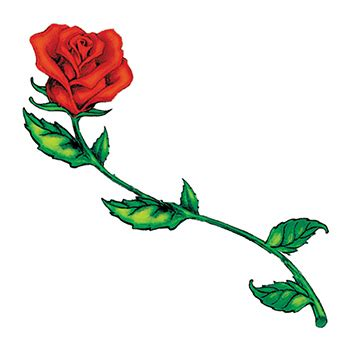 long stem rose tattoo stem temporary usimprints