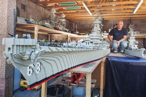 biggest navy boat in the world fisherman spends three years building world s biggest lego