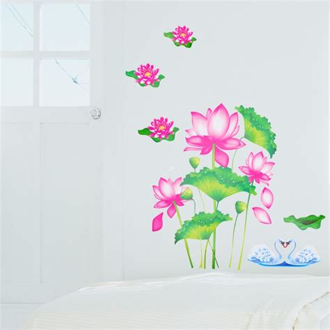 Lotus Flower Print Wall Sticker lotus wall stickers wall ideas