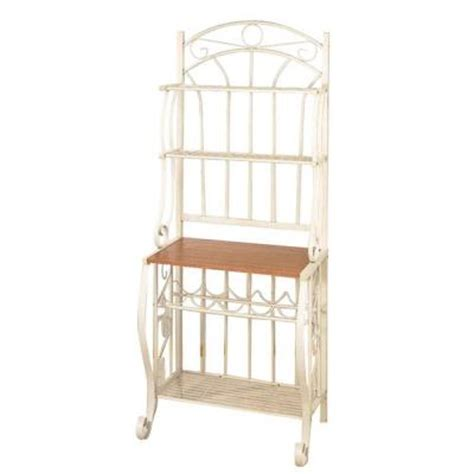 Bakers Rack Home Depot by 68 In X 16 In X 27 25 In Linen White Bakers Rack With