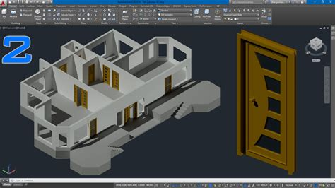 free 3d drawing autocad 3d villa modeling lesson 2 3d door drawing