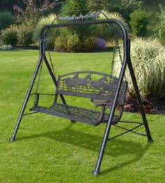iron garden swing painted sky designs cast iron swing outdoor spaces