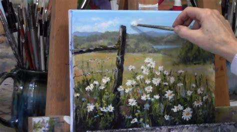 dipingere fiori ad olio dipingere fiori bianchi e margherite in un prato stile arte