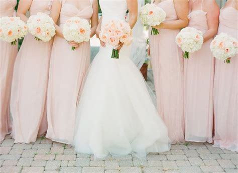 blush and pink wedding blush pink bridesmaid dresses and bouquet peonies white