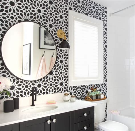 wallpaper for black and white bathroom bathroom wallpaper black and white www pixshark com