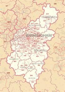 map of post b postcode area