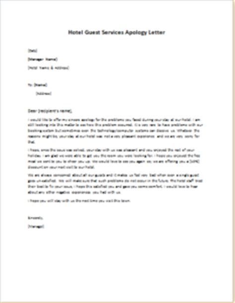 Letter Of Apology For Bad Service In Hotel Hotel Guest Services Apology Letter Writeletter2
