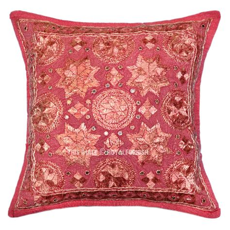 18 quot maroon embroidery mirror work cotton throw pillow