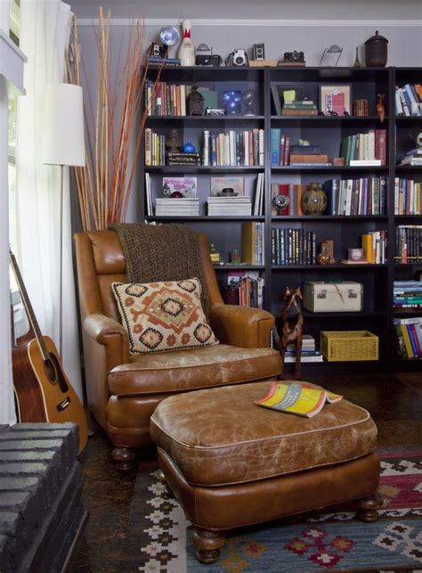 Reading Nook Chair Modern Rustic Eclectic Library Office Vintage Leather