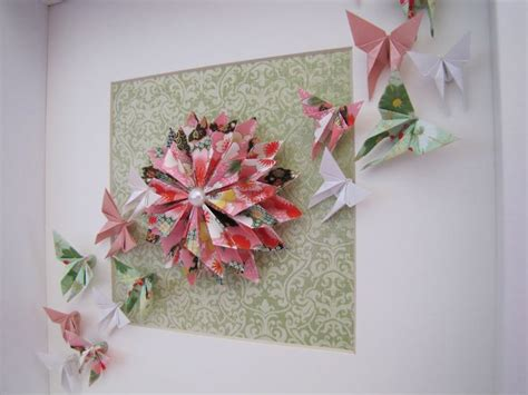 Origami Dahlia - origami dahlia and butterflies in a frame order via www