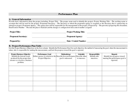 performance plan template best photos of performance management plan template
