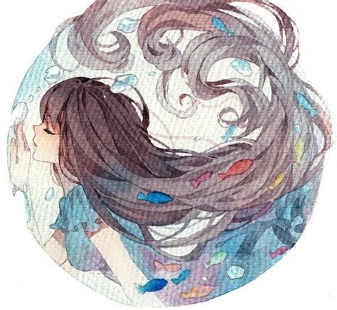 anime beautiful watercolor wet onto dry radial design