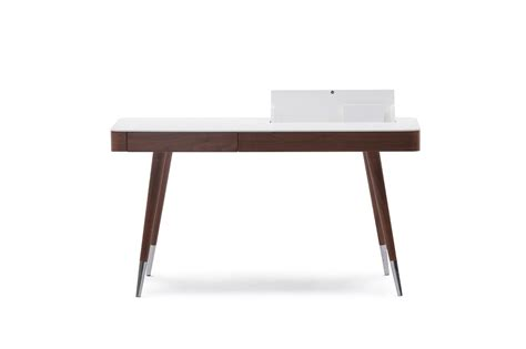 Brown Wood Veneer Office Desk With Matte White Top White Wood Desks