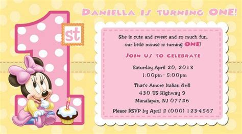 free printable baby minnie mouse 1st birthday invitations minnie mouse 1st birthday invitations blank