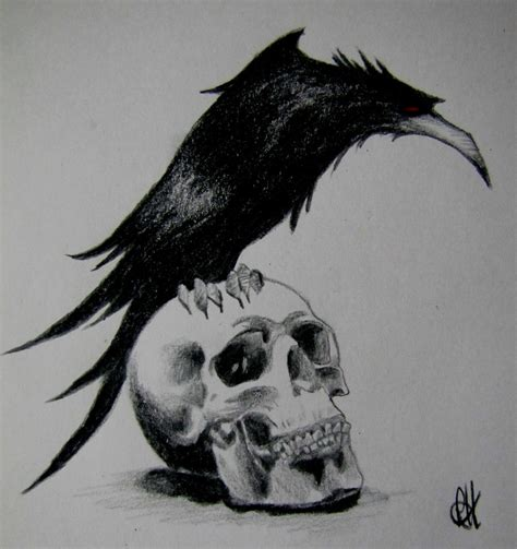 raven and skull tattoo by bekkatora on deviantart