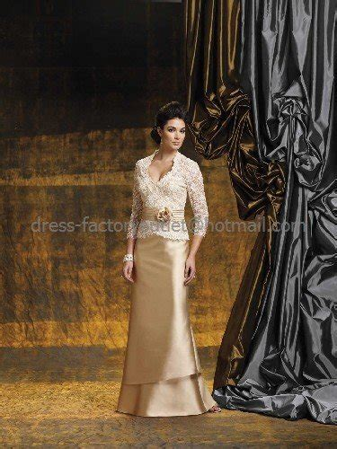 Strapless Gold Satin Lace Floor Length Mother of the Bride