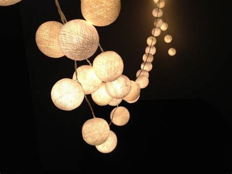 white cotton ball string lights for patio wedding party