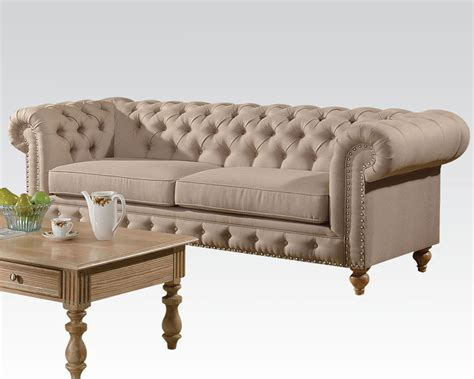 acme sofa beige linen sofa shantoria by acme furniture ac51305