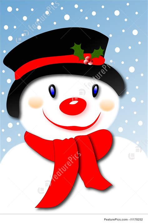 smiling snowman stock illustration   featurepics