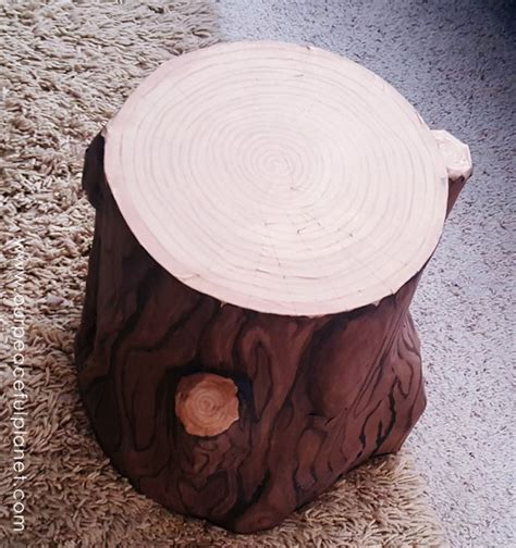 wood stump stool diy paper mache tree stump stool