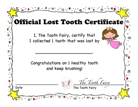 tooth certificate template 1st lost tooth certificate and letter tooth children