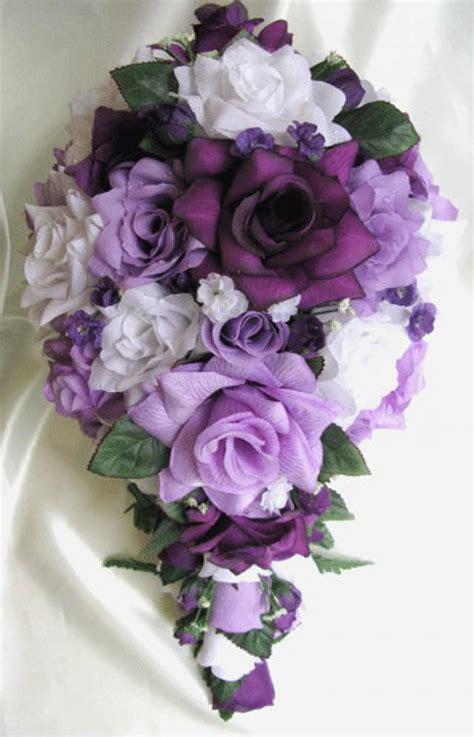 silk wedding flowers centerpieces free shipping wedding bouquet bridal silk flowers cascade plum purple lavender white decorations