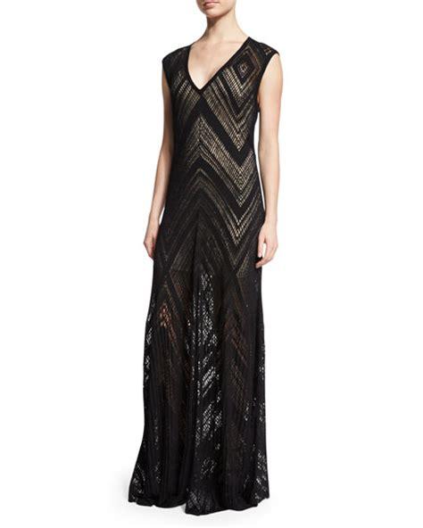 Dress Maxi Tasiena l agence tatiana cap sleeve chevron knit maxi dress black modesens