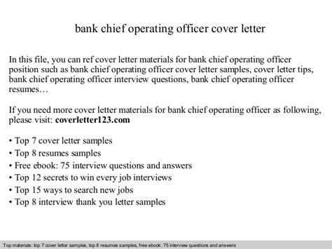 Chief Officer Cover Letter by Bank Chief Operating Officer Cover Letter