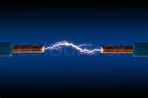 electric cable  sparks   black background stock