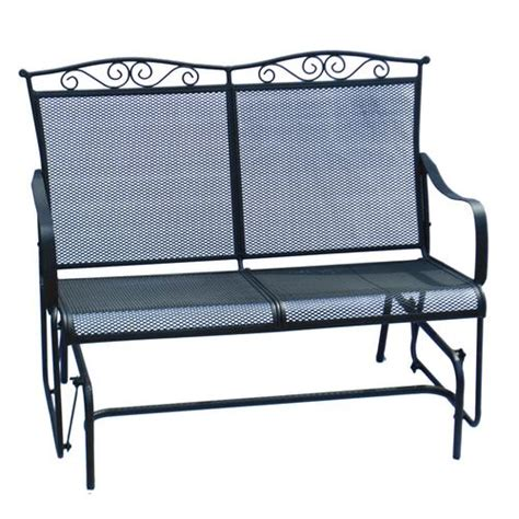 wrought iron patio glider bench backyard creations wrought iron glider at menards 174