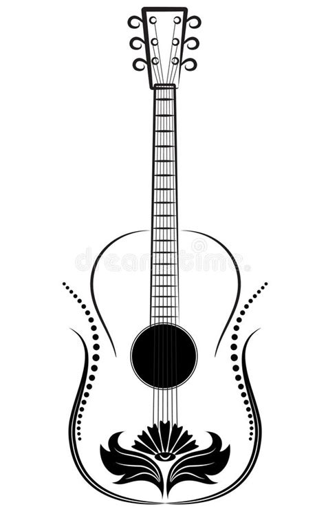guitar decorative ornament stock vector illustration