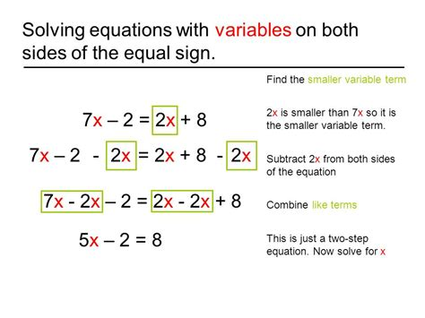 Multi Step Equations Worksheet Variables On Both Sides by Solving Equations With 2 Variables Nolitamorgan