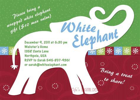 White Elephant Party Invitation Customizable Printable 4x6 Or White Elephant Invitations Templates