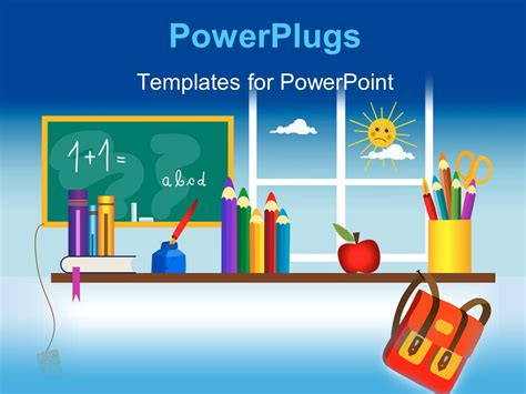 Powerpoint Template A Classroom Setting With Lots Of Educational Materials Around 10775 Free Powerpoint Templates School