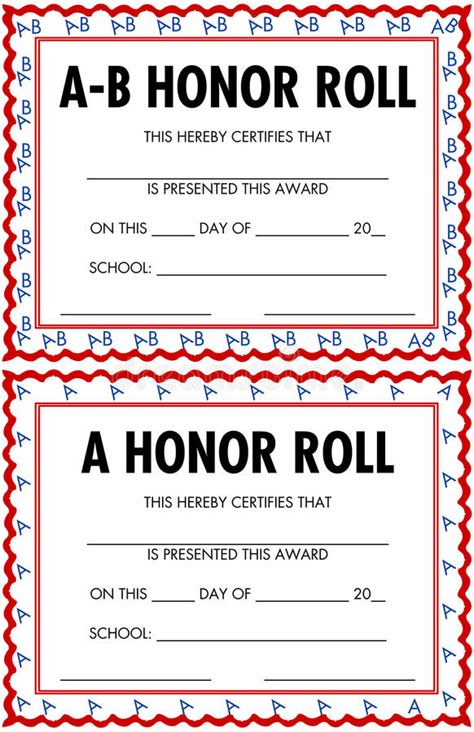 a b honor roll certificate template a and b honor roll