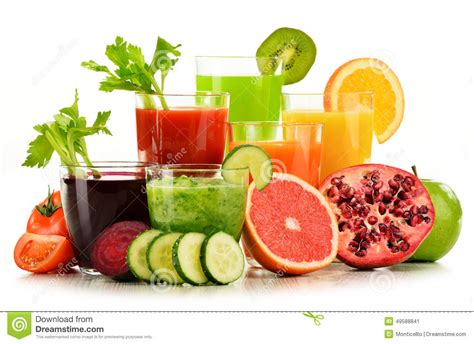 Detox Diet Only Fruit And Vegetable by Glasses With Fresh Organic Vegetable And Fruit Juices On