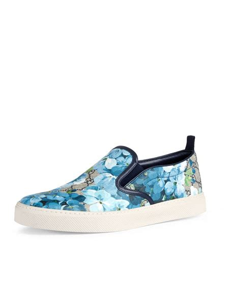 Gucci Gg Blooms Floral Flats 268 3 gucci dublin gg blooms canvas slip on sneaker blue beige