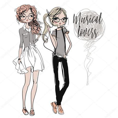imagenes tumblr para dibujar hipster chicas de dibujos animados lindo hipster vector de stock