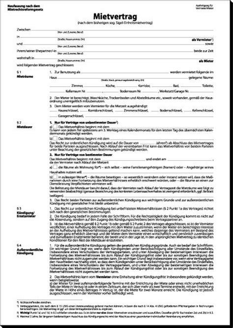 Vorlage Kündigung Mietvertrag Italien Sigel Mv464 Mietvertrag Ehemals Einheitsmietvertrag