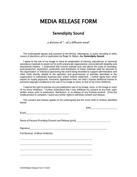 Form Media Release Form Media Release Template