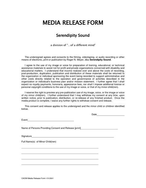 Form Media Release Form Media Release Form Template