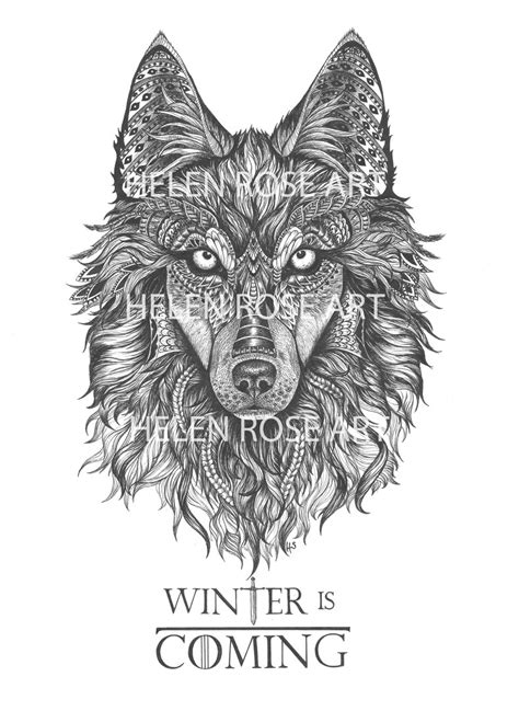 thrones coloring book winter is coming winter wolf illustration winter is coming wolf drawing