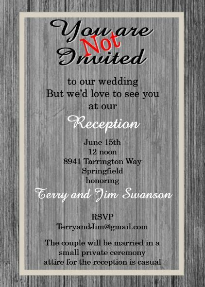 elopement party invitations reception  invitations
