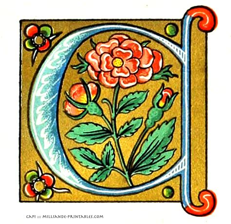 illuminated manuscript letters a free printable