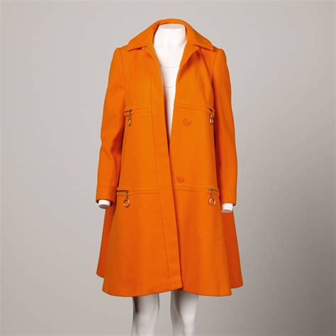 orange swing coat mary quant vintage 1960s mod orange wool trapeze swing